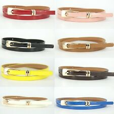 Newest Womens Fashion Multicolor PU Leather Thin Skinny Waistband Buckle Belt