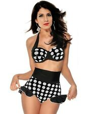 Cutest Retro Vintage Rockabilly Pin up High Waist Bikini Set Swimsuit Swimwear