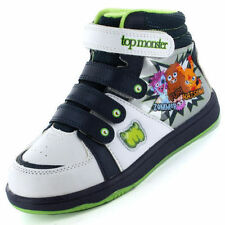 BOYS MOSHI MONSTERS HI TOPS ANKLE BOOTS TRAINERS PUMPS,VELCRO STRAPS SIZE 10-2