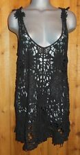 NWT PRETTY ANGEL TUNIC DRESS SHIRT cover up CROCHETED blk S M L XL SEXY vintage