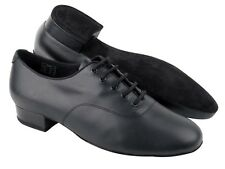 Mens Latin Dance Shoes Black Leather 1 inch Standard and Smooth