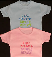I Cry You Jump Simple Really Boy Girl Baby Blue Pink T Tee Shirt Cute Funny Gift