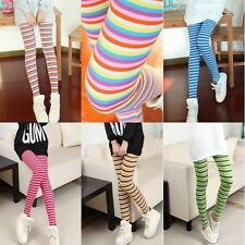Women's Ladies Colorful Striped Skinny Stretchy Leggings Pantyhose Pants Tights
