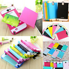 Multi Toned 2 in 1 TPU+ PC Hybrid Skin Hard Candy Case Cover For Mobile Phones