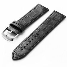 New Men Military 18/20/22/24mm Luxury Genuine Black Leather Watch Band Straps