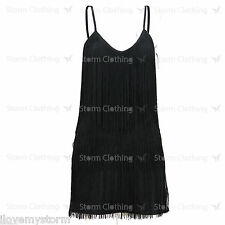 LADIES SEXY CELEBRITY AMANDA BLACK TASSEL TOP MINI DRESS UK 6 8 10 12 14 16