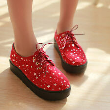 Womens Girl Faux suede Lace Up Cheeper Punk Sweet School Shoes Flat Platform new