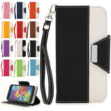 For Samsung Galaxy S5 Luxury PU Leather Wallet Flip Cover Stand Case Skin Hot