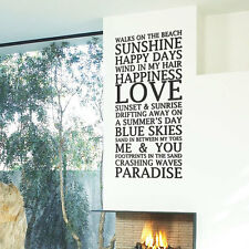 Beach Home Love Summer Art Wall Stickers Quotes Wall Decals Wall Decorations