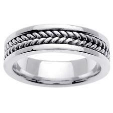 14K White Gold Hand Braided Crafted Wedding Ring Band  6mm (WJRL03344)