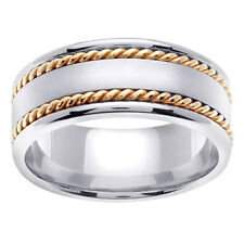 14K Two Tone White Yellow Gold Two Row Rope Satin Wedding Band 8mm (WJRL06464)