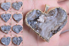 """40mm to 49mm Drusy druzy chalcedony Rosette GP heart shaped pendant 1.6 to 1.9"""""""