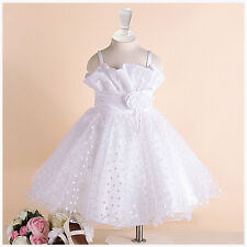 1688 White Flower Girl Dresses Girls Bridesmaid Party Wedding Dress Age 1 to 12Y