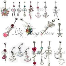 Stunning Multi Crystal Gems Dangle Navel Belly Bar Ring Body Piercing Jewelry UK