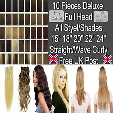 "Deluxe Full Head 15"" 18"" 20"" 22"" 24"" Clip in Hair Extensions Straight/Wavy Curly"