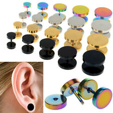 2Pcs of Cheater faux fake Ear Plugs Gauges Tapers Gold Black Stainless Steel NEW