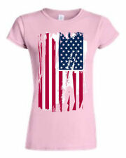 JUNIORS USA FLAG T-SHIRT Distressed AMERICAN PATRIOTIC PRIDE RED WHITE BLUE S-2X