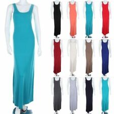 Solid Long Tank Maxi Dress Full Rayon Jersey Casual Sundress Spandex S M L