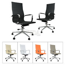 Synthetic Leather Office Chair Computer Armchair New Modern Design Ribbed 3color
