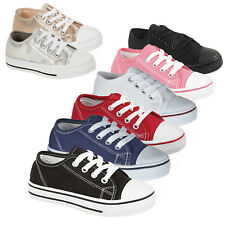 New Toddlers Boys Girls Infants Lace Up Plimsolle Pumps Trainers Shoes Size 6-12