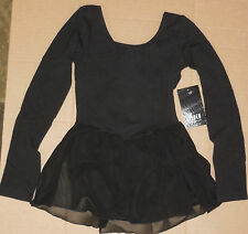 NWT BLOCH  BLACK LONG SLEEVE BALLET DANCE DRESS  FULLY FRONT LINED CL5309