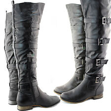 Women Military Combat Cowboy Buckles Strappy Thigh High Boots Fashion Shoes
