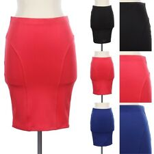 Sexy Solid Bodycon Skirt Straight Pencil Fitted Stylish Knee Length Span S M L