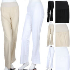 Stretch Waistband Casual Linen Pants Full Length Long Comfortable Fit Easy S M L
