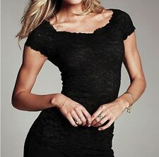 Fashion New Women Floral Lace Sexy Top Short Sleeve Blouse Crew Neck T-shirt M/L