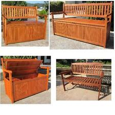 HARDWOOD WOODEN GARDEN STORAGE BENCH 2 AND 3 SEATER WOOD BENCH OUTDOOR PATIO