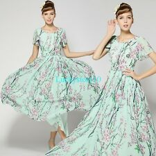 2014 New Floral Women Chiffon Vintage Prom Party Evening Long Vogue Skirt Dress