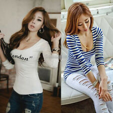 Sexy Fashion Women Long Sleeve Scoop Neck Stripe Casual Tops T-shirt Blouse SML