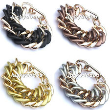 Hot Sell Fashion Simple Punk Gothic Style CCB Link Chain Chunky Bangle Bracelet