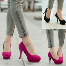 Ladies Suede High Heels Platform Pumps Stiletto Classic Office Prom Party Shoes