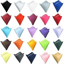 16 Plain Colors Men's Satin Silk Hanky Wedding Party Pocket Square Handkerchief