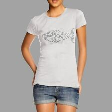 Women's Fish Skeleton Rhinestone Diamante T Shirt