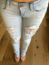 MACHINE JEANS DESTROYED RIPPED DISTRESSED WOMEN SKINNY SLIM Blue Denim