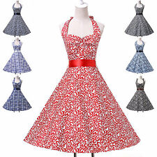 Vintage Style 50s Rockabilly Party Prom A Line Ball Gown Halter Wedding Dress RH
