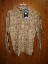 NWT MENS UNDER ARMOUR DIGITAL CAMOUFLAGE COLD GEAR MOCK NECK HUNTING BASE SHIRT