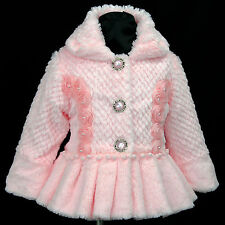 Pink p109 r2 UkG Winter Autumn Faux Fur Summer Holiday Party Girls Coat 2,3,4-7y