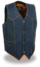Mens Front Snap Blue Denim Vest