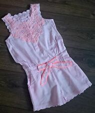 SALE New Girls Beautiful ex Next Pink Cream Cotton Playsuit  Age 3 - 15 Years