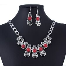 costume necklace earring jewelry set antique silver collar bib 4 color bead