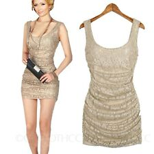 Summer Sexy Ladies Tank Top Mini Lace Dress Stretch Womens Clubbing Dresses 0-4