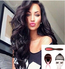 Indian remy human hair Natural body wave full lace /lace front wig + cap comb