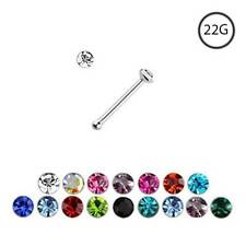 925 Sterling Silver Nose Bone Ring Small Tiny Micro 1mm CZ 22 Gauge 22G
