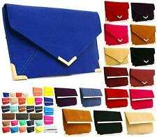 WOMENS LADIES CLUTCH EVENING FAUX LEATHER WEDDING ENVELOPE PROM PARTY BAG