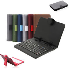 """Gridding 7"""" PU Leather Micro USB Keyboard Case Stand Cover for Tablet w/Earphone"""