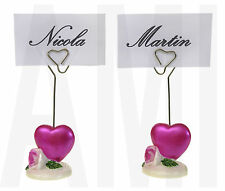 2X HOT PINK HEART & ROSE WEDDING NAME PLACE CARD PHOTO HOLDERS TABLE DECORATION