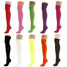 Lot Women's Ladies Stretchy Over The Knee High Plain Cotton Socks New